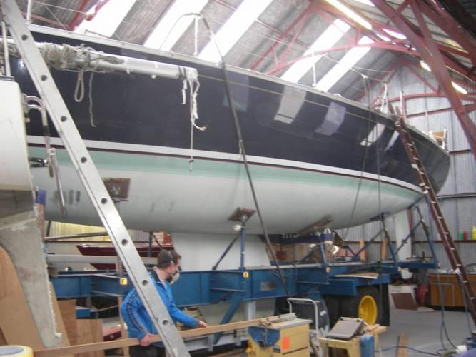 a yacht being repaired at TLC